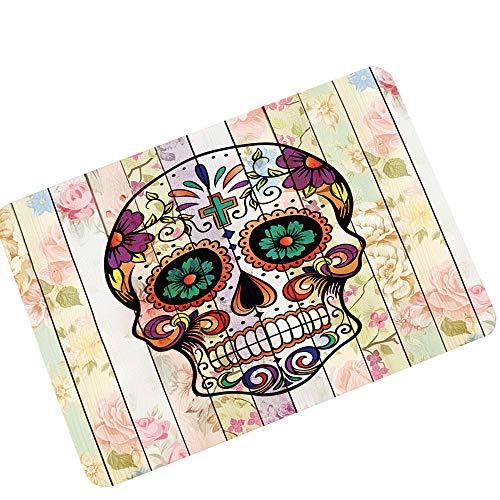 Vibola Door Mat Halloween Skull Non-Slip Carpet Floor Bath Mat Carpet Pad Home Decoration 60 x 40 cm (D)