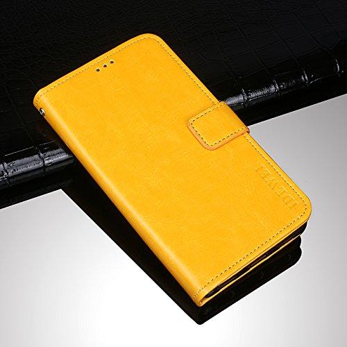 Homtom S7 Funda Faux Cuero Billetera Funda para Homtom S7 con Stand Función(Azul oscuro) Amarillo