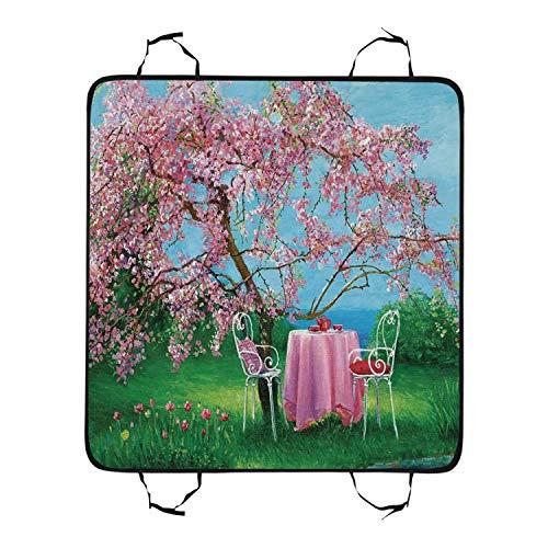 TecBillion Rustic Utility Pet Car Seat,Tea Time Theme Vintage Chairs Plum Tree Spring Garden Painting for Pet,55