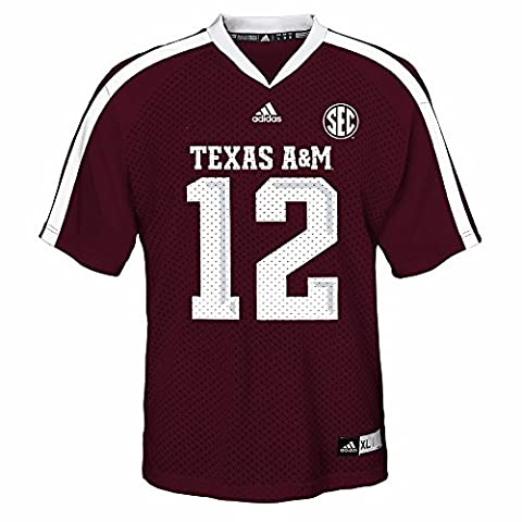 Texas A&M Aggies NCAA Adidas Maroon Official Home #12 Replica Football Jersey For Youth (XL) - Maroon Football Jersey