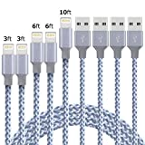 beegod Lightning Cable Charging Cable 5-Pack Nylon Braided USB Cable Charger Durable Fast Charging Compatible with iPhone X 8 7 6s 6 Plus 5SE 5s 5c 5 iPad iPod All iOS Devices