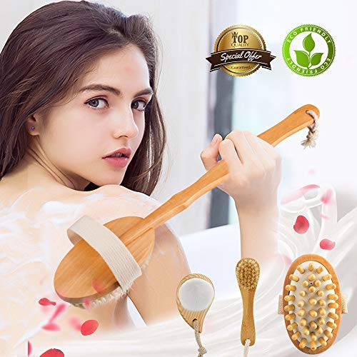 Dry Brushing Body Brush Kit (5-Piece Set) & Shower dry exfoliating lymphatic brush - in Bamboo + Natural Boar Bristle, Adds Lymph Flow&Alleviates Cellulite& Stimulates Blood Circulation-by Zeutch