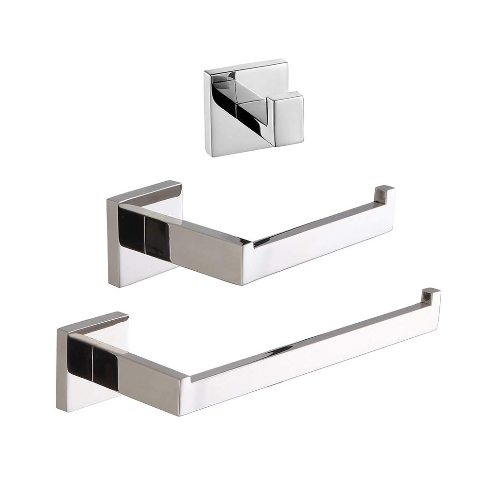 HisweetH 3-Piece Bathroom Hardware Set, Wall Mounted Stainless Steel Towel Holder Towel Hook Toilet Paper Holder (Polished, 3-Piece Set)