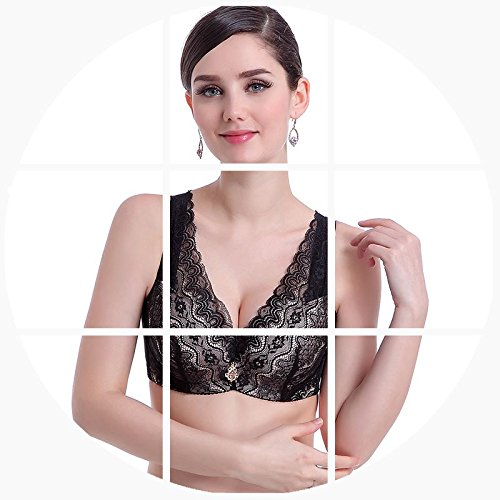 LXYFC-La primavera y el verano de sujetador tamaño delgado acérquense Furu significativamente pequeña ropa interior, Bra,Black,34b = 75b