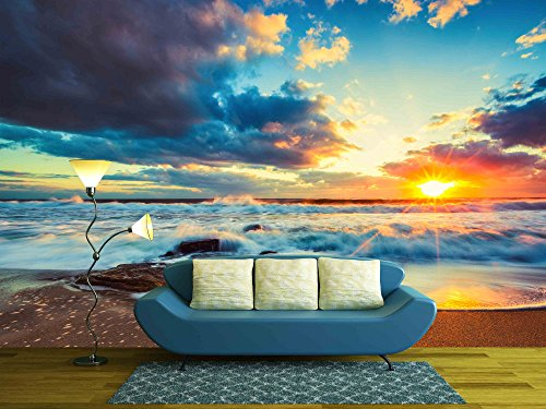 wall26 – Beautiful Cloudscape over the Sea, Sunrise Shot – Removable Wall Mural | Self-adhesive Large Wallpaper – 100×144 inches