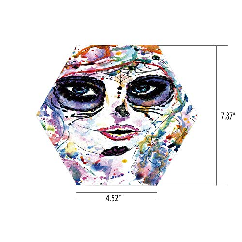 PTANGKK Hexagon Wall Sticker,Mural Decal,Sugar Skull Decor,Halloween Girl with Sugar Skull Makeup Watercolor Painting Style Creepy Decorative,Multicolor,for Home Decor 4.52x7.87 10 Pcs/Set
