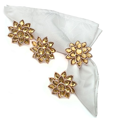 Nicole Fantini Collection Golden Flower Mandala with Crystals Napkin Rings Set of 4
