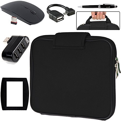 EEEKit 5 in 1 Travel Kit for Nextbook Flexx 11.6,RCA 11 Maven Pro,Carrying Briefcase Sleeve Case Bag,Hub,Micro USB OTG Cable,2.4G Wireless Mouse/Pad and Stylus