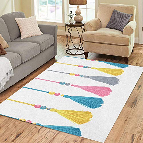 Semtomn Area Rug 2' X 3' Colorful Tassels Beads and Ropes Border Pattern Great Home Decor Collection Floor Rugs Carpet for Living Room Bedroom Dining Room