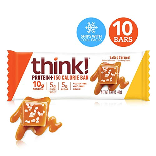 - Think! (thinkThin) Protein+ 150 Calorie Bars - Salted Caramel, 10g Protein, 5g Sugar, No Artificial Sweeteners, Gluten Free, GMO Free*, 1.4 oz bar (10 Count - Packaging May Vary)