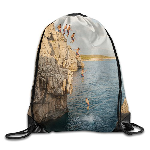 Men's Women's Man On Cliff Diving Into The Sea Leather Reinforced Corners Water Resistant Bundle Hiking Team Issue Rucksack Gymsack Gym Drawstring Bags Sackpack - Usa Cliff Diving