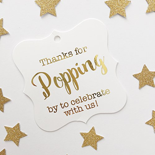 Wedding Favor Tags, Thanks for Popping By, Choose Your Foil Color (FS-370-F) (Gold)]()