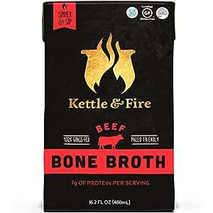Kettle & Fire Beef Bone Broth by 100 Percent Grass-fed, Organic, Collagen-rich Beef Bone Broth, 16.2 Fl Oz(Pack of 2)