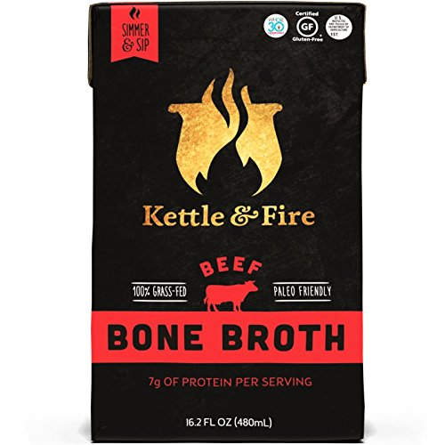Kettle & Fire Beef Bone Broth by 100 Percent Grass-fed, Organic, Collagen-rich Beef Bone Broth, 16.2 Fl Oz(Pack of 2)