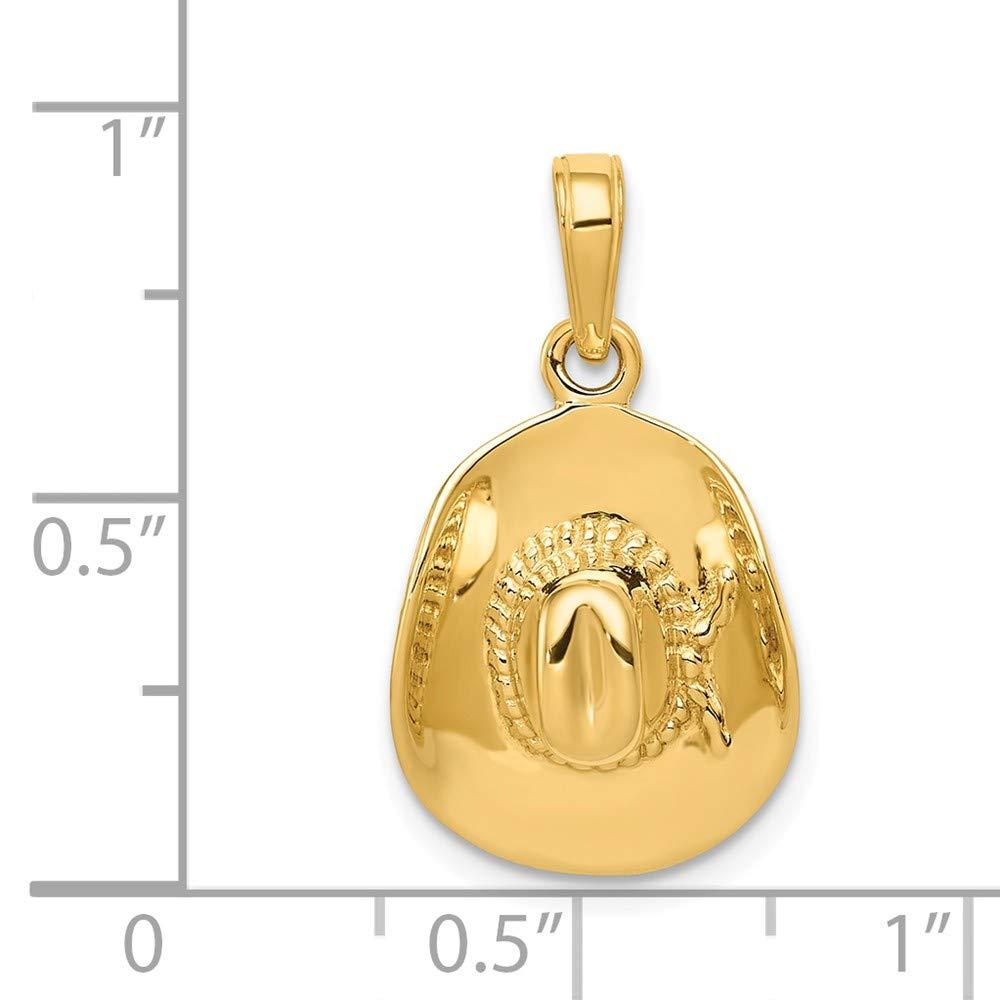 Diamond2deal Or Jaune 14/K 3-D Chapeau de Cowboy Pendentif
