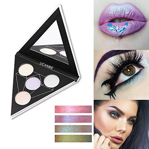 Triangle 4 Color Iridescent Metallic Glow Powder Highlighter Alchemist Holographic Palette