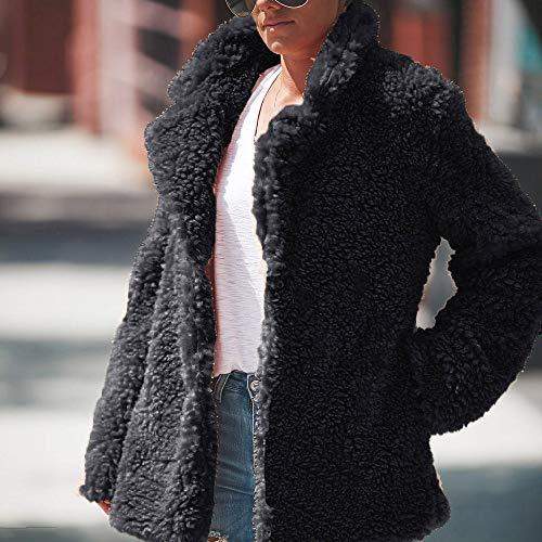 Sweatshirt Fur Peluche Hiver Cardigan Reaso Elegant Manteau En Chaud femme Faux Taille Blouson Vintage Poche Casual Outwear Gris Foncé Grande Pull Cardgain Veste ATRqgT