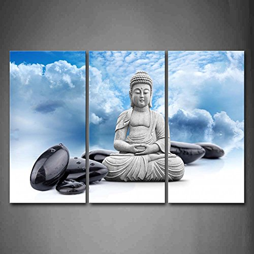 First Wall Art - Buddha And Spa Stone In Blue Sky Wall Art Painting Pictures Print On Canvas Religion The Picture For Home Modern Decoration by Firstwallart
