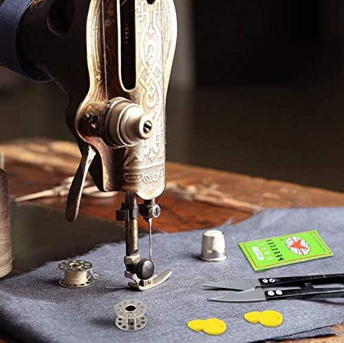 Homgaty - Juego de accesorios para máquina de coser, cinturón con 4 ganchos, 4 bobinas para máquina de coser, 2 enhebradores, 10 agujas para máquina de coser, 1 punzón y tijeras de