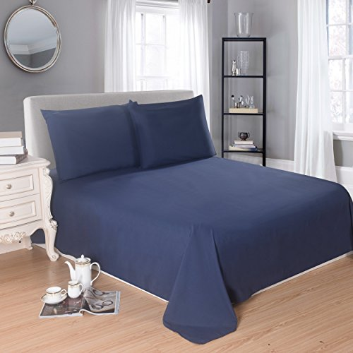 Lullabi Premium Collection, Double-Side Brushed Finish, Microfiber Bed Sheets Set - Fitted, Flat Sheet, Pillowcases, Wrinkle, Fade, Stain Resistant (Navy Blue, Queen Size)