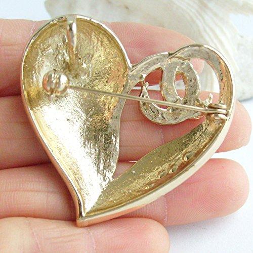 1.97'' Rhinestone Crystal Love Heart Brooch Pin Pendant BZ4831 (Gold-Tone Yellow) by Sindary Jewelry (Image #4)