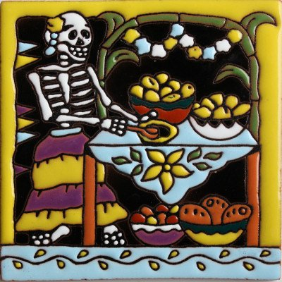 - Fine Crafts Imports 6x6 Cooking. Day-of-The-Dead Clay Tile