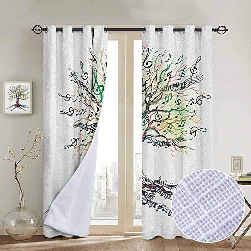NUOMANAN Modern Farmhouse Country Curtains Music,Musical Tree Autumnal Clef Trunk Swirl Nature Illustration Leaves Creative Design, Multicolor,Design Drapes 2 Panels Bedroom Kitchen Curtains 120