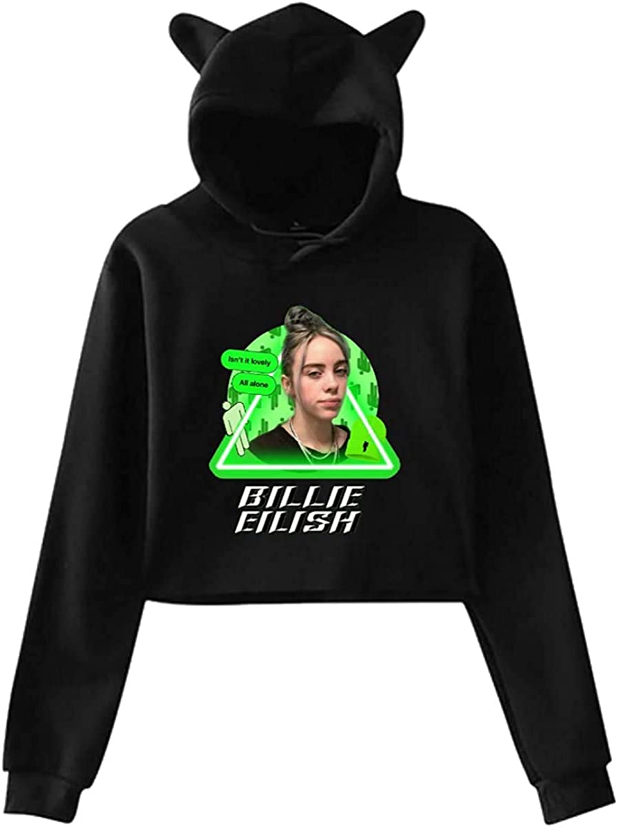 Makoo Billie Eilish Girls Hipster Cat Ear Hoodie Sweater Black Amazon Ca Clothing Accessories