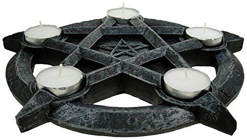 Grindstore Pentagram Black Tealights Holder 26cm