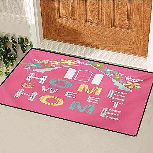 (GUUVOR Home Sweet Home Universal Door mat Abstract Roof and Window Surrounded by Colorful Flowers and Butterflies Door mat Floor Decoration W47.2 x L60 Inch Multicolor )
