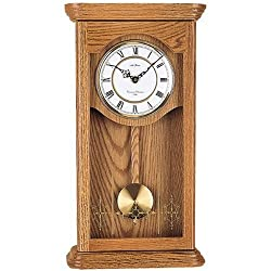 Seth Thomas Newbury White Dial Stained Natural Oak Finish and Wooden Case with Chime Pendulum Wall Clock