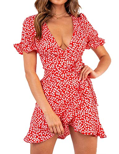 Relipop Women's Dresses Floral Print Deep V-Neck Short Bell Sleeve Ruffle Wrap Tie Knot Fishtail Short Dress Red
