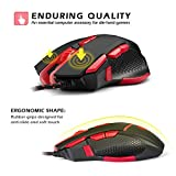 [Wired Gaming Mouse 4000 DPI 9 Buttons] EasySMX V18 Optical Mouse Weight Tuning Set Non-slip Design with LED Light Fire/Sniper Button 4 Programmable Button for Laptop PC Computer Gamer (Black and Red)