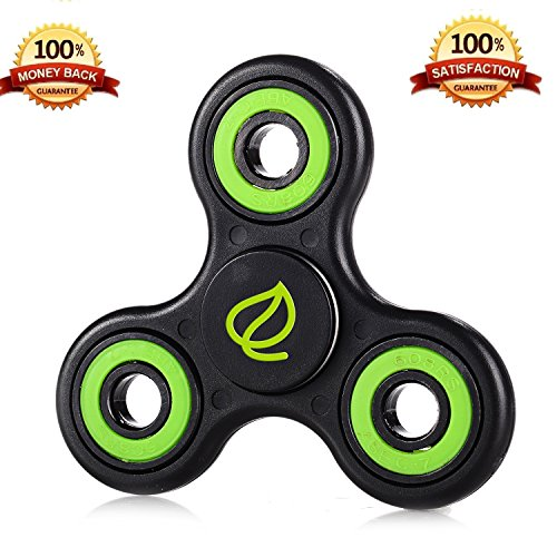 Exgreem NEW 2017 DIRT RESISTANT EDC Tri-Spinner Fidget Toy Smooth Surface Finish Ultra Durable 2-3 Min Spins Non-3D printed (one pack) (One Black/green) Exgreem