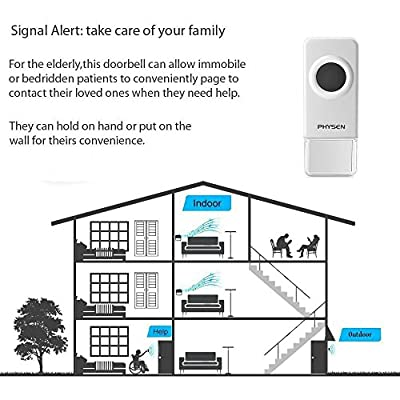 Physen Model CW Waterproof Wireless Doorbell kit with 2 Push Buttons and 4 Plugin Receivers