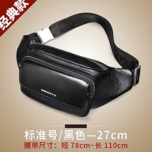 Landona Pockets Men Cow Leather Shoulder Bag Male Chest Pack Bag Man Messenger Bag Large Capacity Of The New Standard / Black Casual Men - (27cm)