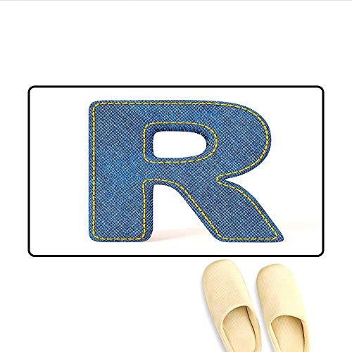 Bath Mat Retro Denim Style Alphabet Font Pattern with Capital R Letter Blue Jean Design Door Mats for Inside Non Slip Backing Blue Yellow 32