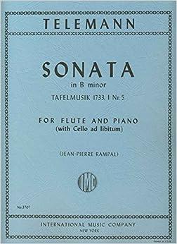 Book TELEMANN - Sonata en Si menor (Tafelmusik 1733 nº 5) para Flauta y Piano (Violoncello ad Lib.) (Rampal