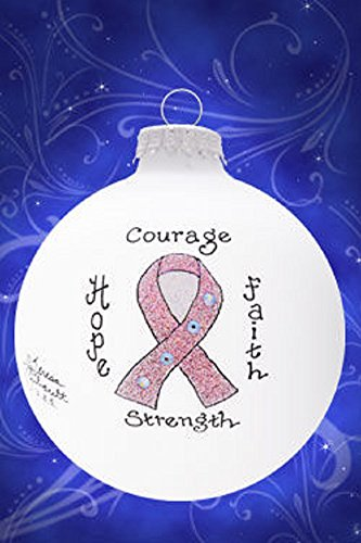 - Home and Holiday Shops Pink Ribbon Breast Cancer Awareness Glass Christmas Ornament Made in the USA