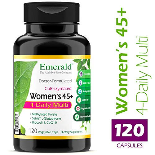 Women's 45+ 4-Daily Multi - Multivitamin with CoQ10, Vitamin K2 (MK-7) & L-Glutathione - Supports Healthy Heart, Strong Bones, Balanced Hormones - Emerald Laboratories - 120 Vegetable - Natural 120 Capsules Growth Hormone