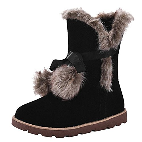 Agodor Womens Platform Flat Lace up Nubuck Leather Snow Boots With Faux Fur Warm Winter Shoes Black F5l6GpM8