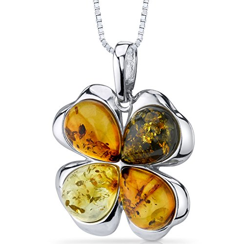 Baltic Amber Clover Pendant Necklace Sterling Silver Honey Olive and Cognac ()