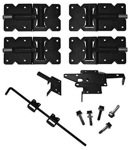 Vinyl Fence Gate Single Gate Hardware Kit White (for Vinyl, PVC etc. Fencing) Fence Gate Kit - Single Fence Gate Kit has 2 Hinges and 1 Latch w/Screws (Lockable Both Sides)