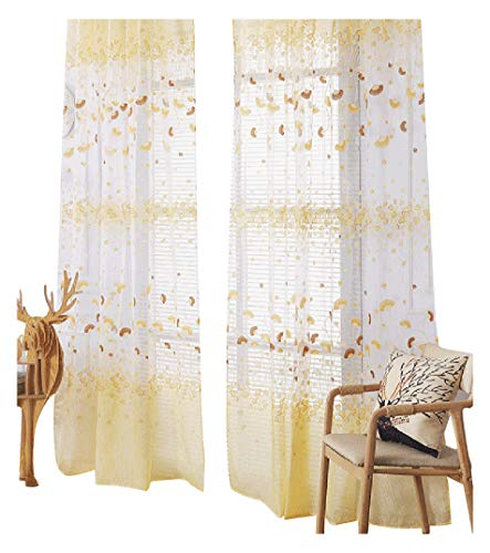 - Simbra Lounge Style Sheer Voile Curtains Drapes Rod Pockets Ginkgo Leave Printed Chic Home Treatment for Sitting Room Kitchen Children Room (1 Panel, W 50 x L 63 inch, Yellow)
