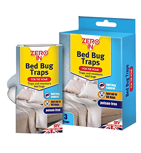 Zero In Bed Bug Traps, Poison-Free Treatment, Bed Bug Detector and Killer, 2 Months Protection (Pack of 3)