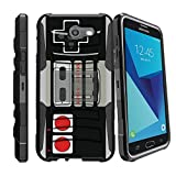 MINITURTLE Case Compatible w/ Hybrid Bumper Case for [Samsung Galaxy J7 (2017), J7 V, Samsung Perx, Samsung Sky Pro] [Clip Armor] Rugged Hard Shell Case w/ Stand and Holster Game Controller Retro