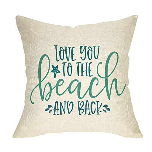 Fbcoo Summer Decorative Throw Pillow Case Love You to The Beach and Back Decoration Nautical Farmhouse Sign Cushion Cover Home Decor 18 x 18 Inch Cotton Linen for Sofa Couch