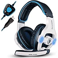 Sades SA903 Virtual 7.1 Channel Surround Sound USB PC Gaming Headset with Microphone Volume Control LED Light (White)