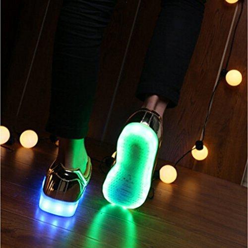 (Present:small towel)JUNGLEST® 7 Farbe USB Aufladen LED Leuchtend Sport Schuhe Sportschuhe Sneaker Turnschuhe für Unisex-Erwachse Gold Low-Top 0JhoO