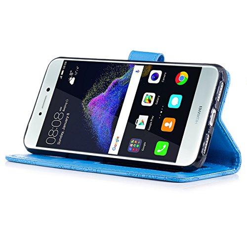 Funda Huawei P8 Lite 2017, WE LOVE CASE Piel y Tipo Cartera Carcasa Funda Flor Huawei P8 Lite 2017 con Tapa Flip Wallet caso de Cuero Billetera Original Funda Que Se Pega con Ranura Para Tarjeta Card  Blue